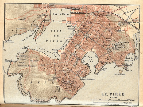 Map of Piraeus, showing the grid plan of the city 1908
