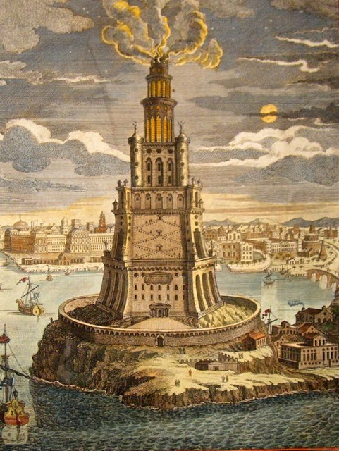 """The Lighthouse of Alexandria, sometimes called the Pharos of Alexandria"""