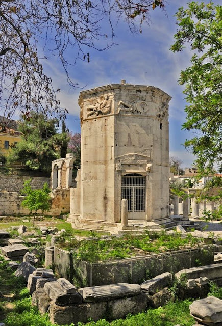 The Tower of the Winds, also called horologion (timepiece) is an octagonal Pentelic marble clock tower, located at the ancient agora, under the Acropolis, Plaka, Athens.